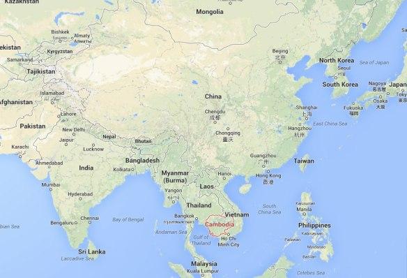 map of asia, cambodia location